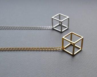 Sterling Silver 3D Cube Necklace   3D Cube Pendant   Geometric Pendant Necklace