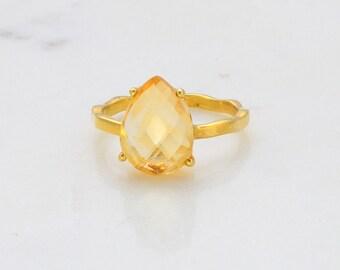 Citrine Ring - November Birthstone Ring - Stackable Ring - Gemstone Ring - Stacking Ring - Gold Ring - Tear Drop Ring - Prong Set Ring