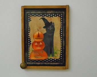 "MAGNET:  Unique Halloween Primitive Rustic 3"" by 4"" Framed Magnet/Wall Hanging"