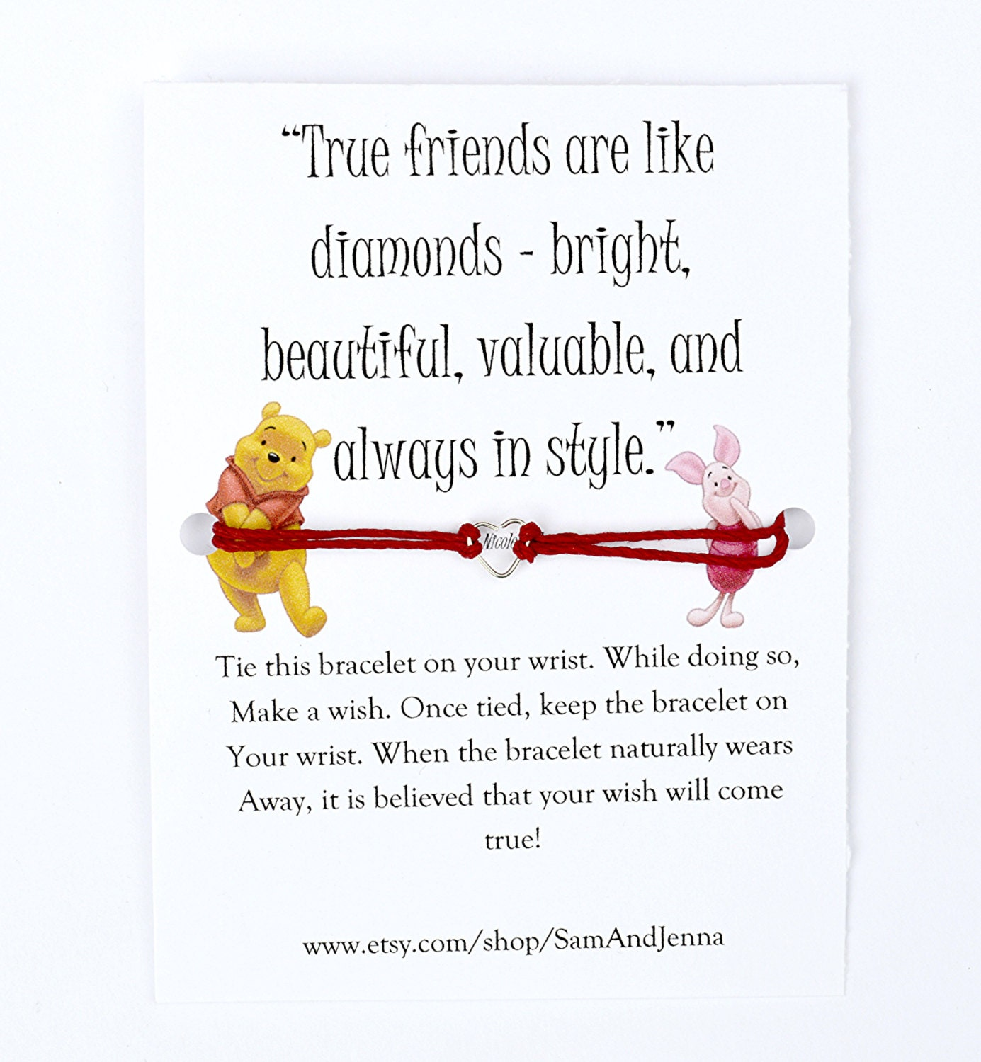Pooh Quotes About Friendship Winnie The Pooh Friendship Wish Bracelet Piglet Cute Gift