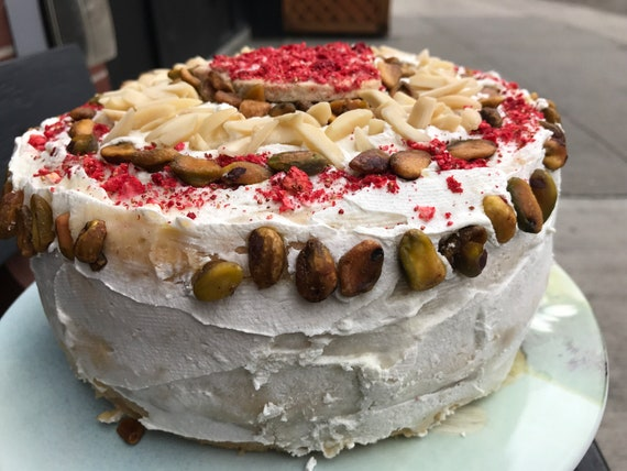 Vegan Vanilla Almond Pistachio Strawberry Cake, love, animal free cruelty,no eggs,no dairy.