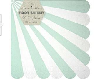 Toot Sweet Meri Meri Napkins mint pinwheel print