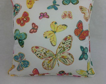 Schumacher Cushion Cover Butterfly' Multi on White Lulu DK Many Sizes Available  Self Piped Cushion Cover/Pillow