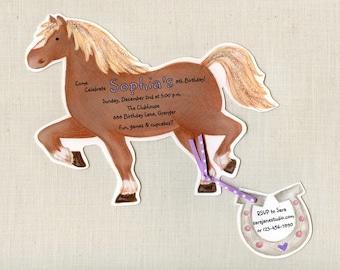 "30 Horse Birthday Party | Invitations | Pony Party | Riding | Personalized | Printed | Sara Jane | Ranch | Farm Birthday | 5""x7"" Invitation"