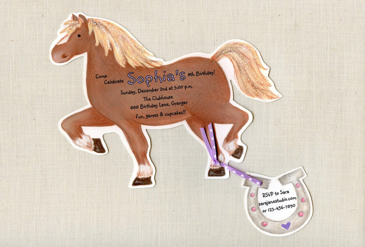 10 Horse Birthday Party Invitations Pony Party Riding