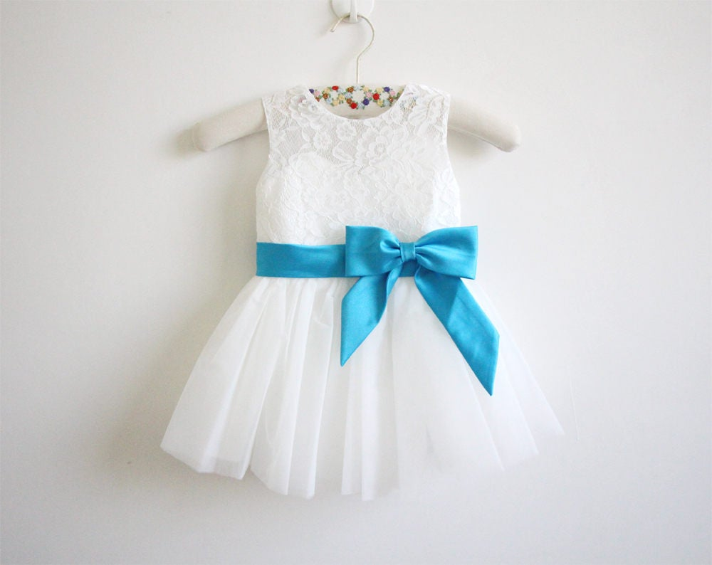Light ivory flower girl dress blue ribbon baby girl dress lace zoom izmirmasajfo Image collections