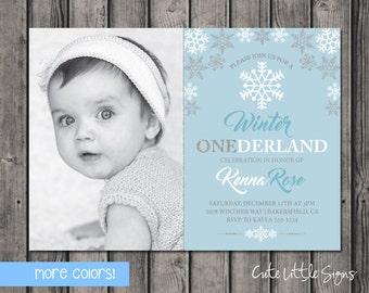 Winter Onederland Snowflake Photo Birthday Invitation, Girls First Birthday Invite Digital Download