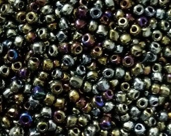 3mm 20g iridescent gold silver glass seed beads