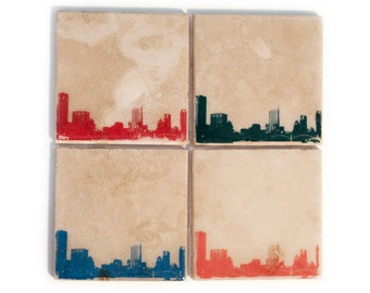 Austin Skyline Coaster Set (4 Stone Coasters, Orange, Green, Blue, & Red) Cityscape Home Decor