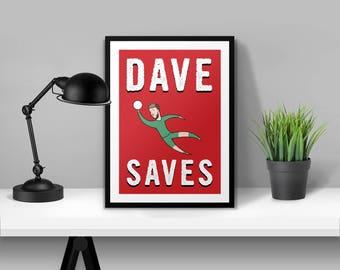 Dave Saves David De Gea Man Utd Illustrated Poster Print | A6 A5 A4 A3