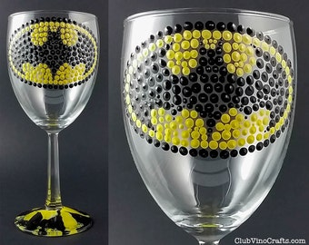Ready to Ship: Handpainted Batman Medium Wine Glass with Marble Base