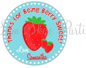 Strawberry Party Favor Tags DIY Printable File
