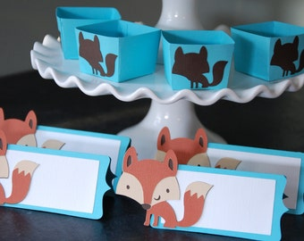 Fox Package, Fox Place Cards, Fox Food Labels, Fox Candy Cups, Baby Shower,