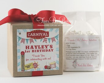 CARNIVAL PARTY - One Dozen (12) Personalized Cupcake Mix Birthday Party Favors