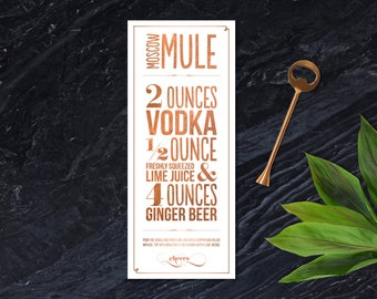 Moscow Mule Recipe Copper Typographic Design for Print; Printable; Copper Foil Texture