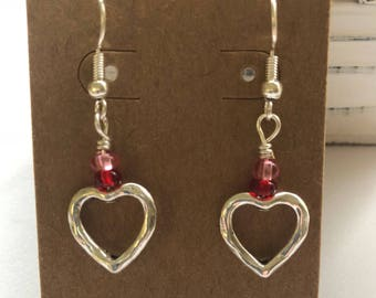 Silver Heart Valentines Day Earrings