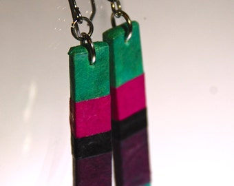 Aqua Fuchsia Purple Striped Hanji Paper Earrings OOAK Patchwork Colorful stripes Handmade Hypoallergenic hooks Lightweight
