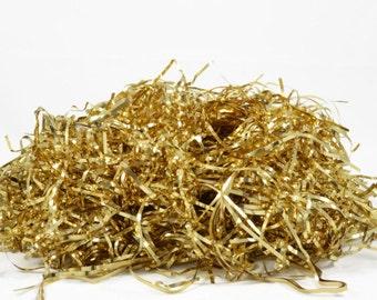 GOLD FOIL SHREDS - Glossy Gold Metallic Tinsel Shreds (56g)