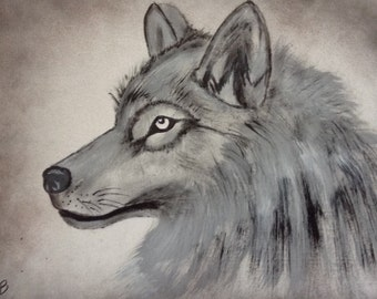 Black and White Art/Painting of Wolf