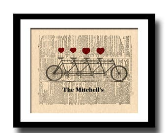 Personalized, Family, Custom, Housewarming Gift, New Home, Decor, Tandem Bicycle, Names, Date, Wall Art Print