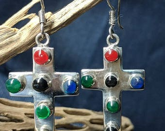 Mulit - Color Sterling Silver Cross Earring – 6 Glass Cabochons