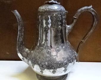 Antique Vintage Victorian Silverplate Coffee Pot/ Tea Pot/ Hand Engraved/Decorative/Afternoon Tea/Vintage Kitchen