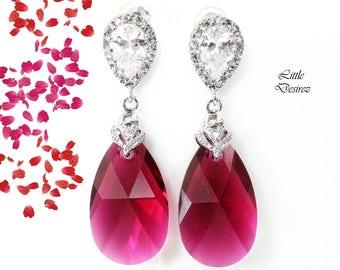 Ruby Earrings Swarovski Earrings Fuchsia Earrings Pink Earrings Bridal Jewelry Statement Bridesmaid Earrings Cubic Zirconia Earrings RP32P