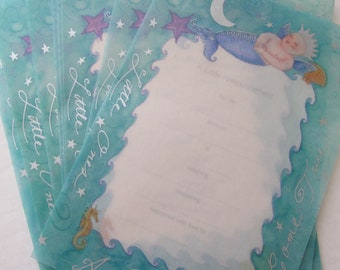 "Baby Birth Announcements with Ocean Theme: ""Little Ones are Dreams Come True"". By Paper Prince, Made in the USA. Birth of a Baby, New Born"