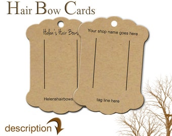 Hair Bow Display Cards, Custom Hair Bow Display, Barrette Card, Bow Cards, Bobby Pin Card, Product Cards, Hair Clip Cards