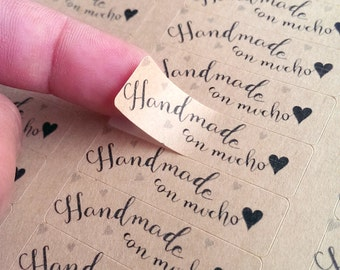 80 Handmade con mucho amor stickers - rectangle stickers Spanglish handmade with love