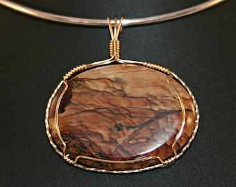 Picture Jasper Pendant  # 582 /picture jasper/Deschutes jasper/pendant/picture jasper pendant/ handmade/gold/