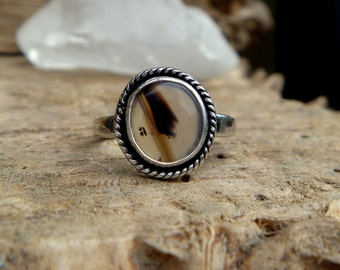 Montana Agate and sterling silver ring // Size 8.75 // Handmade // Metaphysical jewelry