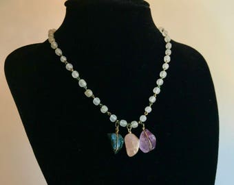 Handmade Wrapped Crystal Necklace with Glass Beads