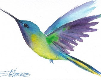 Aceo Original Watercolor Painting Hummingbird 73 Home Decor Fine Art