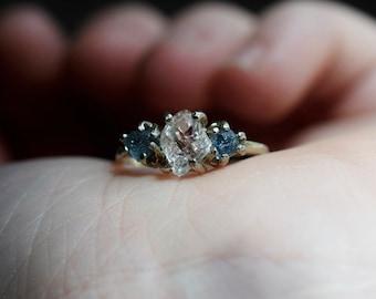 Sapphire Ring Raw Diamond Engagement Ring Rough Diamond Wedding Band Unique Sapphire Ring Size 4 Sapphire Engagement Avello Boho