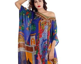 Women fashion 100% silk kaftan maxi crystal embellished dress caftan 172