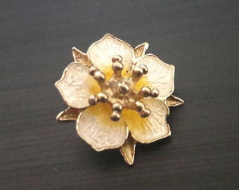 Norwegian vintage 925 sterling silver guilloche enamel flower necklace - Prydz