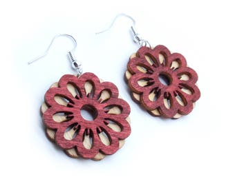 Flower Wood Dangle Earrings