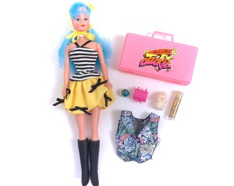 Vintage Jem & The Holograms Rock n Roll Jackie Barbie Doll Case and Accessories Knockoff Fakie Obscure Rare 1980s 80s Original Retro Dolly
