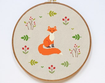 Fox Cross Stitch Pattern, Modern Cute Animal Counted Easy Stitch Chart, PDF Format, Instant Download