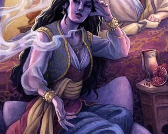 1001 Arabian Nights, Sheherazade Illustration 12x16 - SALE