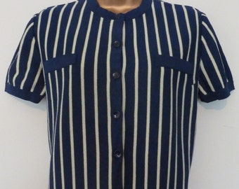 Vintage 1960s Northern Soul Beatnik Mod Short Sleeve Navy Top, 12/14