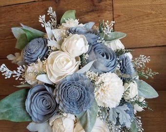 Custom Dusty Slate Blue Sola Flower Bouquet and dried Flower Baby's breath, frosted Seeded Eucalyptus Lambs ear Dusty Miller Faux Style 80