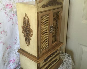"""Jewelry Armoire, LARGE Vintage Florentine Jewelry Box - Made in Italy - music box - Hand painted Gold Florentine - Plays """"Love Story"""""""