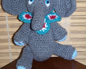 Stuffed Gray Elephant -crochet-with blue, red, white and teal