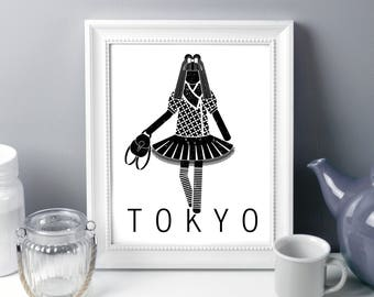 Tokyo, girl power, fashion illustration, art print, Japan, wall art, tutu, playroom decor, child decor, kids decor