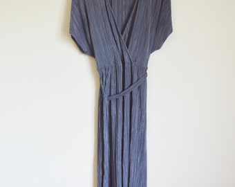 vintage 1990s avant garde grey metallic pleated jumpsuit