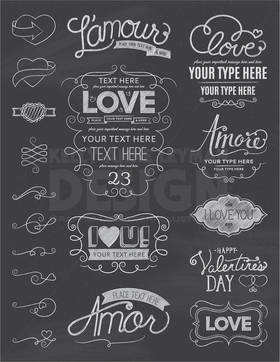 Chalkboard Love Digital Frames, Digital Label Clipart set, Love word ...
