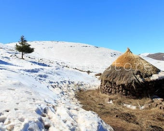 Lesotho Photography, Traditional Basotho Hut, Snow, Winter in Lesotho, African Photography, Travel Photography, Print Photography, Wall Art