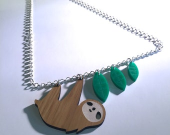 Upcycled Sloth necklace by AsBeAu
